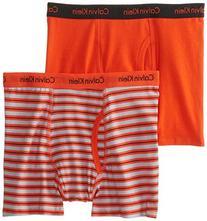 Calvin Klein Big Boys' Assorted 2 Pack Boxer Briefs, Red