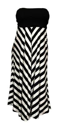 eVogues Women's Striped Dress Skirt Black - 3X