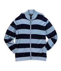 Club Room Mens Striped Knit Cardigan Sweater bluefoghtnavy