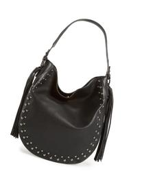 Phase 3 Studded Faux Leather Hobo Bag