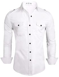 Tom's Ware Mens Stylish Slim Fit Plain Button Down Dress