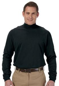 Unisex Sueded Cotton Jersey Mock Turtleneck Shirt, Color: