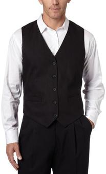 Dockers Men's Suit Separate Vest, Black Stripe, Large