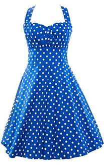 ACEVOG Women's Summer Sleeveless Halter Pinup Swing Dress,XX
