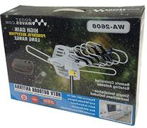 Outdoor Amplified HDTV/UHF/VHF Antenna w/ Remote Control -
