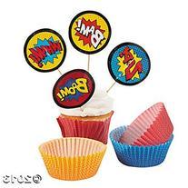 Fun Express Superhero Cupcake Liners With Picks - 100 Pieces