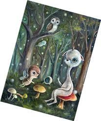 Surreal Unicorn & Animal Friends in Enchanted Forest Fine