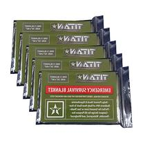 TITAN Two-Sided Emergency Mylar Survival Blankets, 5-Pack |
