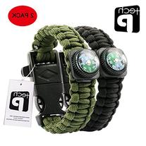 TECH-P Survival Gear Paracord Bracelet Compass Fire Starter