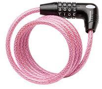 Schwinn SW77862-3 Coil Combo Lock, Pink, 5-Feet x 8mm