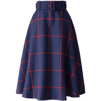 Chicwish Sway the Plaids Belted Midi Skirt in Navy