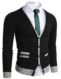 Doublju Mens Sweater Cardigan with Pocket Detail BLACK