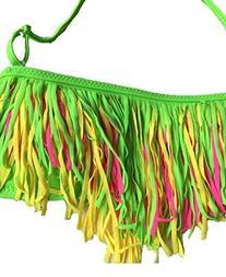 Kids Girls Swimwear Soild Tassel Swimsuits Bikini for 6-