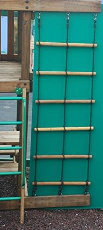 Swing Set Playset Wood 2 Ropre Climbing Ladder for Backyard