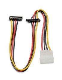 Syba 12 Inch Molex to Dual SATA Right Angle Power Cable
