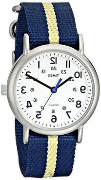 Timex Weekender T2P142 Blue/Yellow Stripe Nylon Slip-Thru