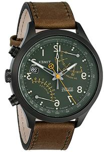 Timex Men's T2P381 Stainless Steel Watch with Olive Leather