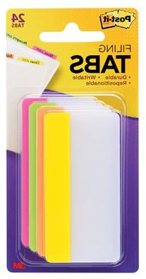Post-it Tabs, 3-Inch Solid, Assorted Bright Colors, 6-Tabs/
