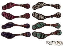 Tahoe Zebra Print Hair On Western Spur Straps with Sunspots