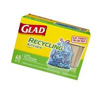 Glad Recycling Tall Kitchen Trash Bags, Clear, Drawstring,