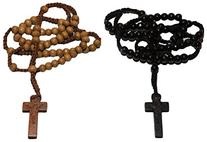 2pc Tan & Black Colored Wooden Beads Rosary Necklaces with