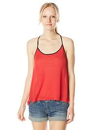 Derek Heart Junior's High Low Tank Top with Contrast Chiffon