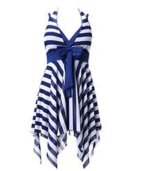 MiYang Women's Tankini Striped Trapeze Swim Dress,Blue,X-