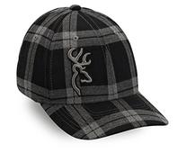 Browning Tartan Plaid Cap, Black, Large/X-Large