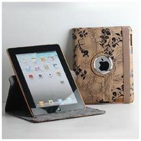 TCD iPad 2 3 4 Fancy Rotating Black Flower PU Leather Case