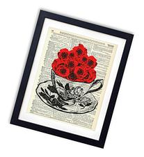 Tea Cup Of Roses Upcycled Vintage Dictionary Art Print 8x10