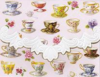Carol Wilson Teacups 10 ct Embossed Note Card Set For Arts