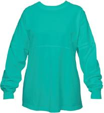 Teal Blue Pom Pom Pullover Shirt for Women, Large