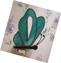 Teal Butterfly Night Light in Stained Glass