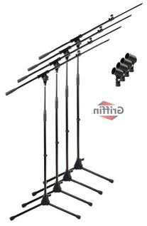 Telescoping Tripod Microphone Boom Stand with Mic Clip  by