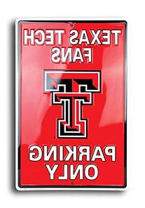 TEXAS TECH RED RAIDERS Metal Parking Sign 12 x 18 embossed