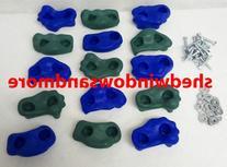 Textured Rock Holds Blue/green Set of 12 W/hardware Rock Peg