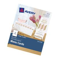 Avery Textured White Menu Cards, 8.5 x 3.66 Inches, Pack of