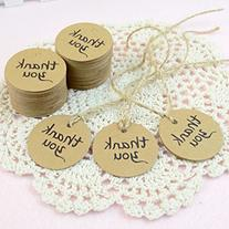 100PCS Thank You Wedding Brown Kraft Paper Tag gifts papers