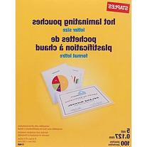 Staples Letter Size Thermal Laminating Pouches, 5 mil, 100