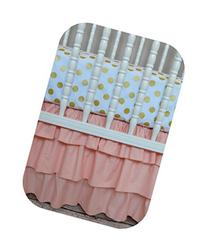 Three Tiered Crib Skirt in Peach by Cobalt and Coral