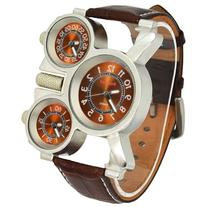 Oulm Military Watches with Three Movt Design and Leather