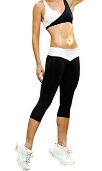 iLoveSIA Womens Tights Leggings Sports Capri Pants White+