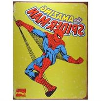 TIN SIGN Amazing Spiderman Vintage Yellow Style