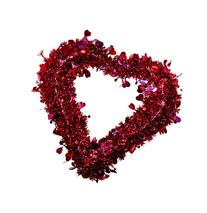 Tinsel Heart Wreath with Holographic Hearts, 15 x 16 Inches