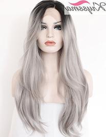 K'ryssma Ombre Gray 2 Tones Synthetic Lace Front Wig Dark