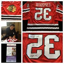 Tony Esposito Chicago Blackhawks Signed Autograph Red Jersey