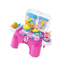 Kids Toy Pretend Kitchen Cooking Playset with Lights &