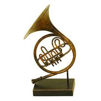 """Deco 79 13020 Metal French Horn 11""""H, 6""""W"""