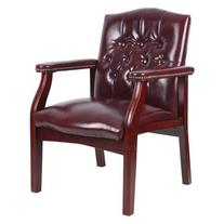 Boss Traditional Oxblood Vinyl Guest Chair with Mahogany