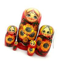 Traditional Red Gold Russian nesting doll Hand Carved Hand